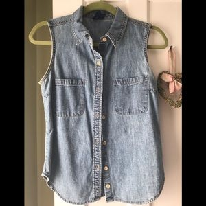 Jcrew sleeveless denim shirt